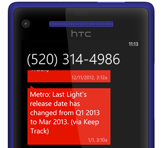 Example screenshot of phone TXT